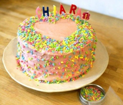 Chiara's Gluten-Free Vanilla Birthday Cake with Strawberry Frosting
