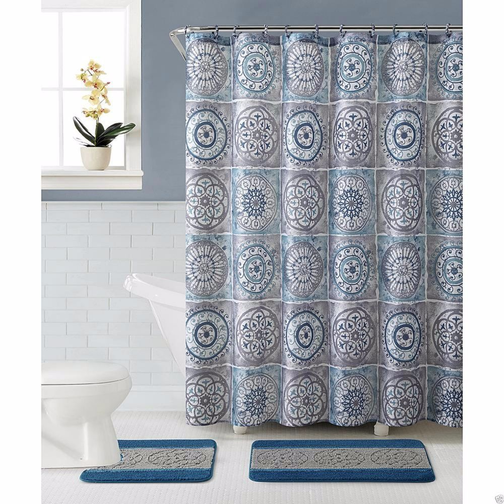Piece Sawyer Bath Set Blue Shower Curtain Rugs Covered Rings - Bathroom curtains and rugs for bathroom decorating ideas