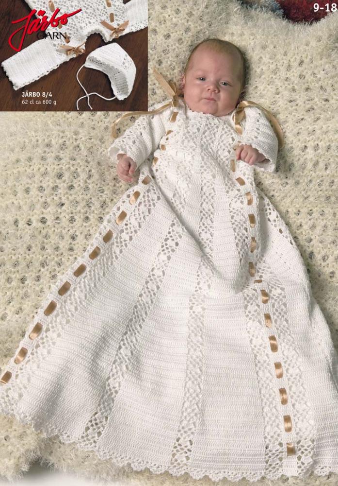 1cb76005cb5a Virkad Dopklänning | virkning | Virka, Virkmönster, Virka barnkläder