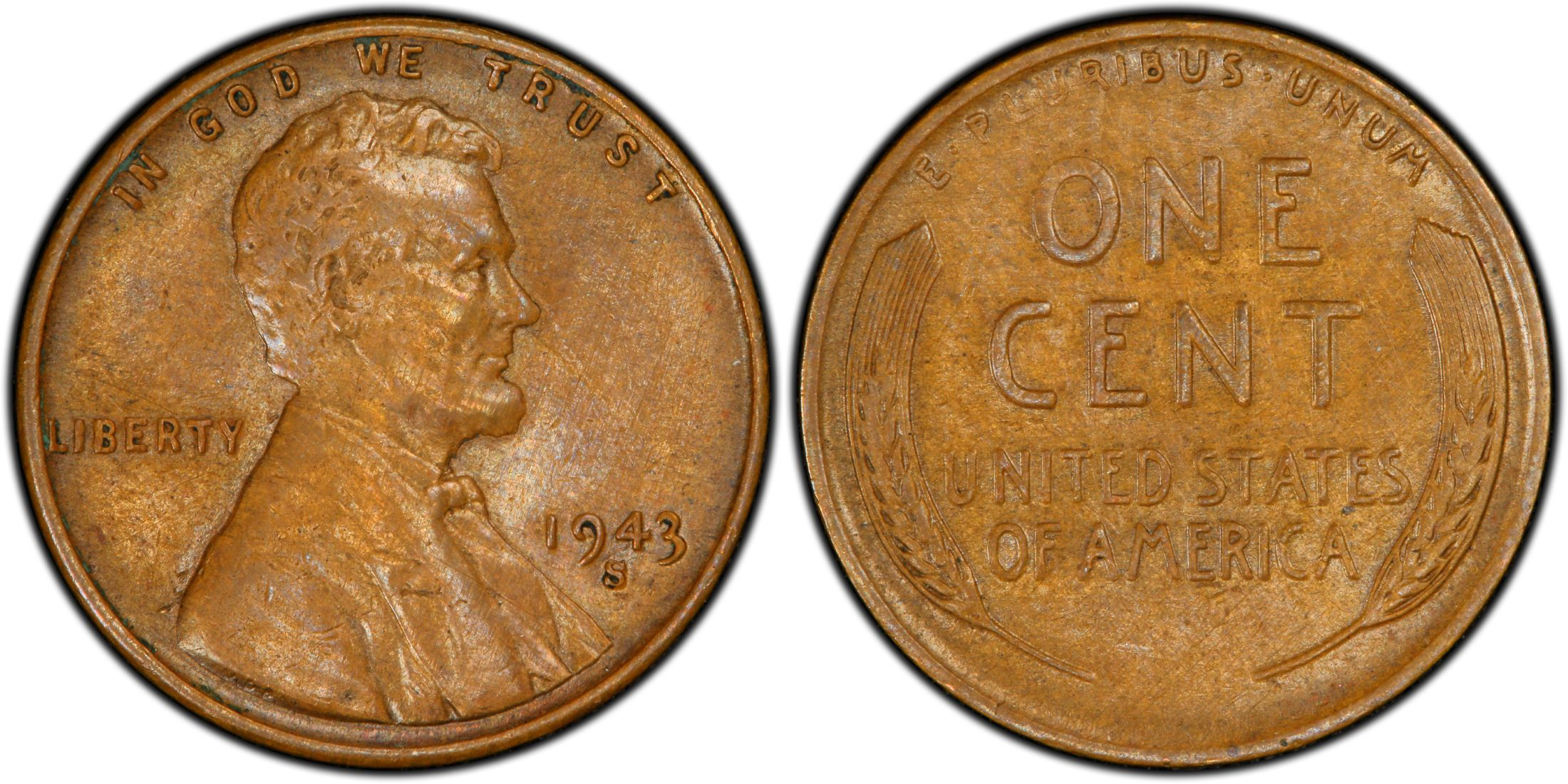 The finest known 1943-S Bronze Lincoln Cent was sold for one million dollars recently.