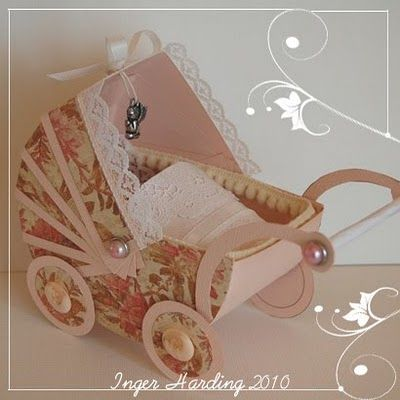 An Old Fashioned Pram For A Baby Girl Handmade Paper Crafts Baby Girl Cards Paper Craft Making
