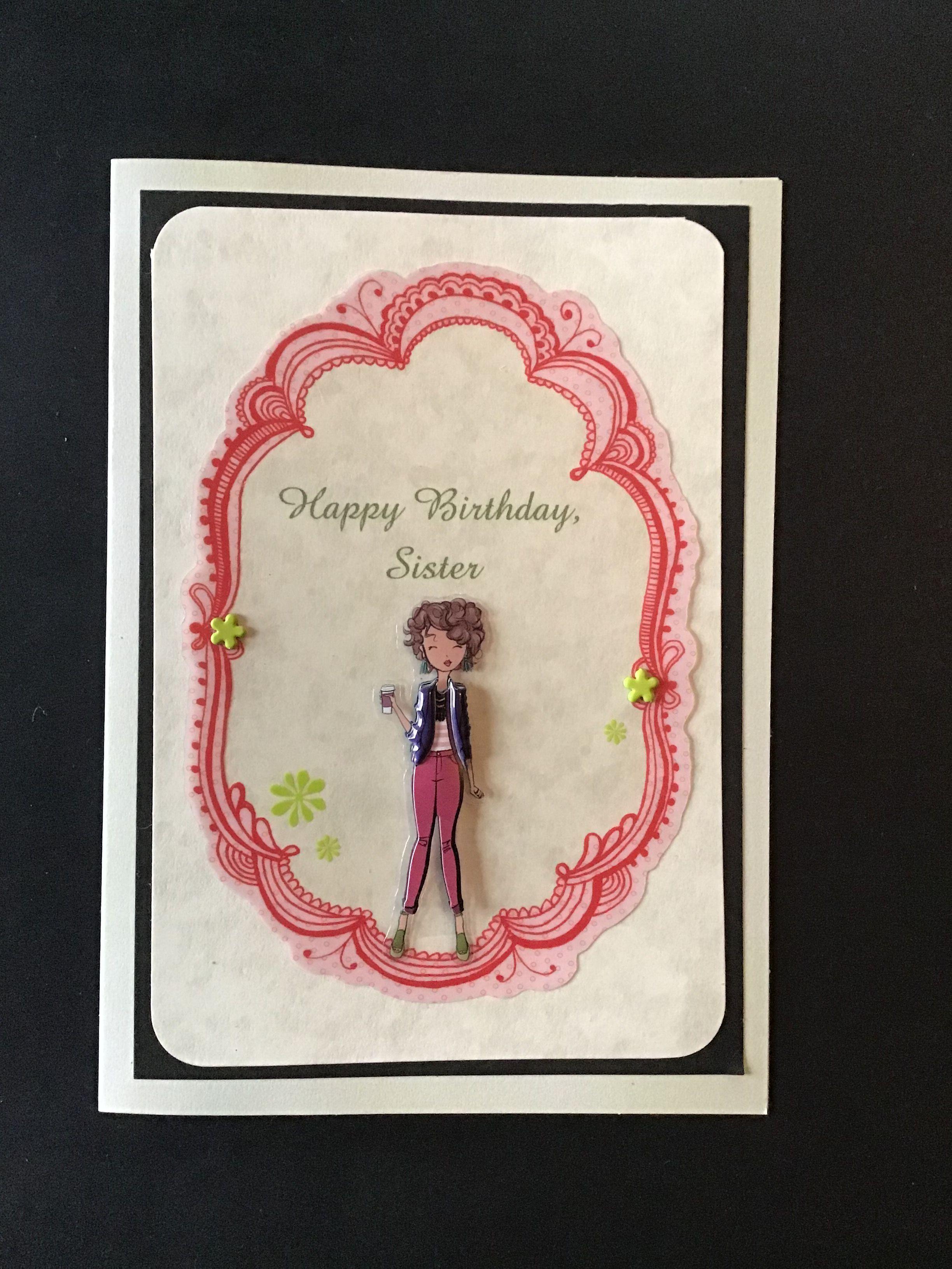 handmade diy sister birthday card using paper studio la