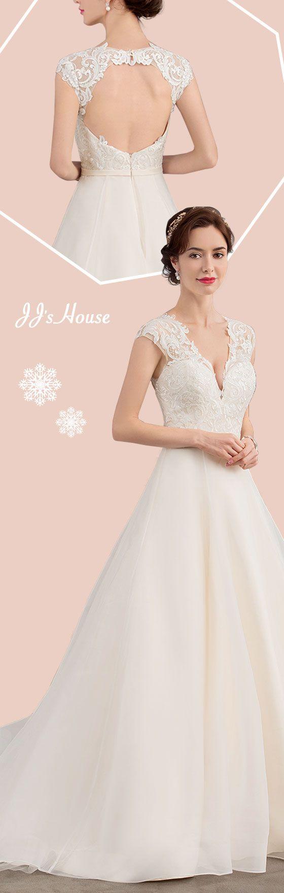 Ballgown vneck court train organza wedding dress