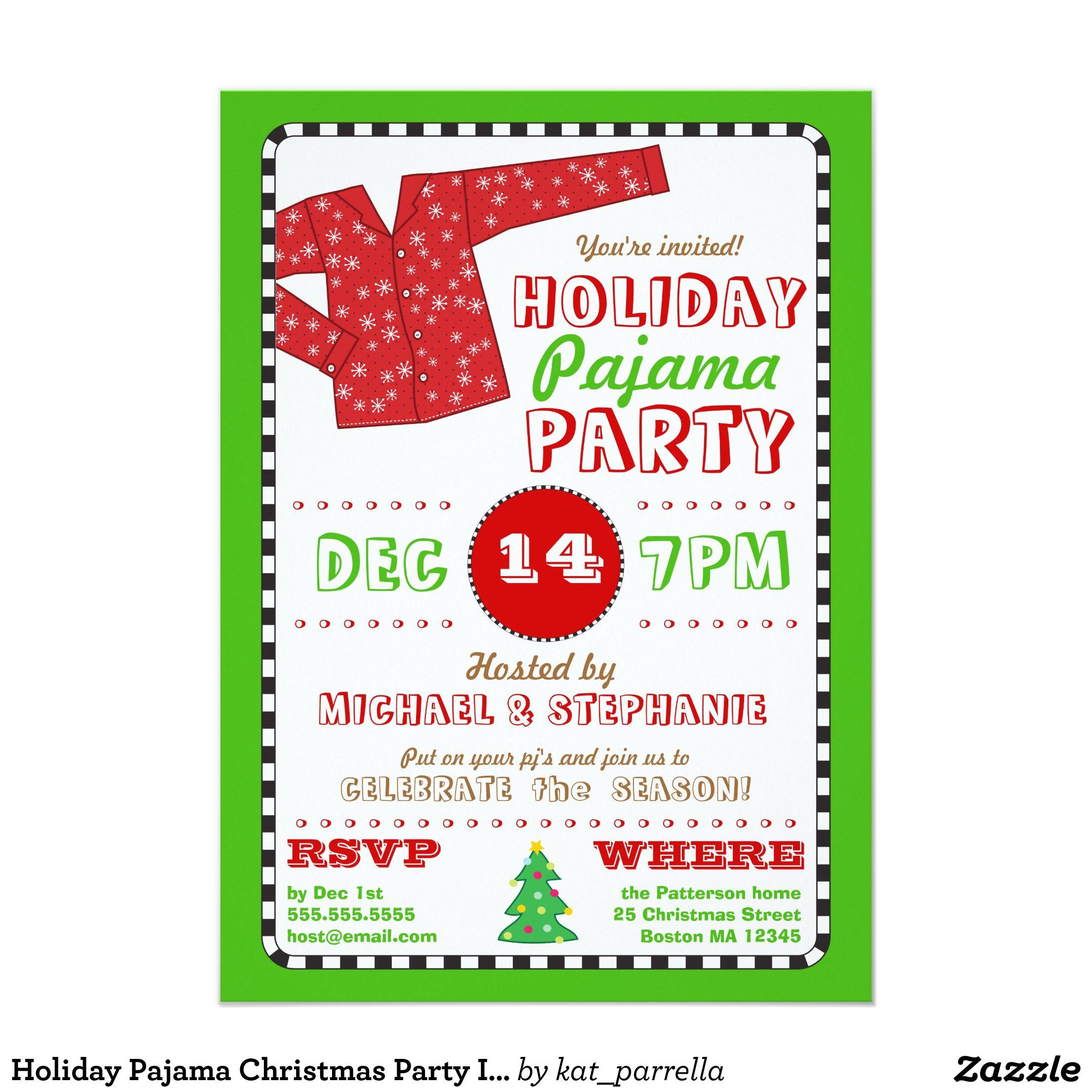Holiday Pajama Christmas Party Invitation | Holiday pajamas, Party ...