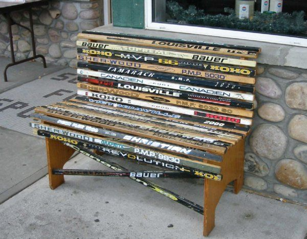 Diy Man Cave Art : Love hockey this bench i should have saved all the broken