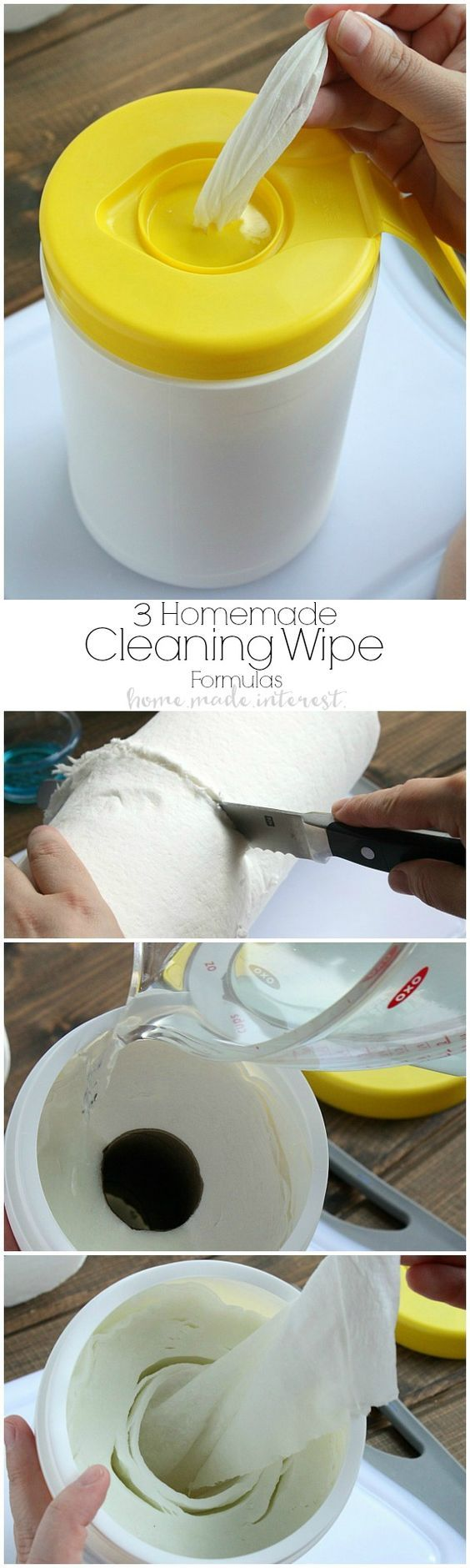 A tutorial on how to make homemade cleaning wipes in three