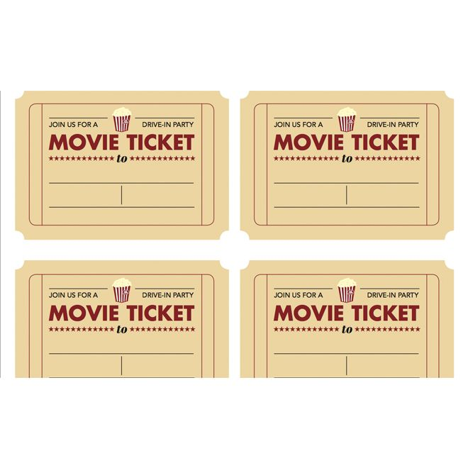 Printable movie ticket invitation from Todays Parent – Theatre Ticket Template