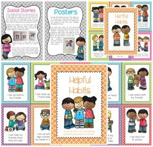Classroom behaviour management packet including social stories, posters and behaviour picture sort.