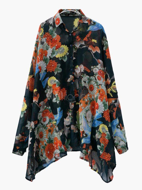 Estampado Floral de manga larga blusa de Gasa de gran tamaño