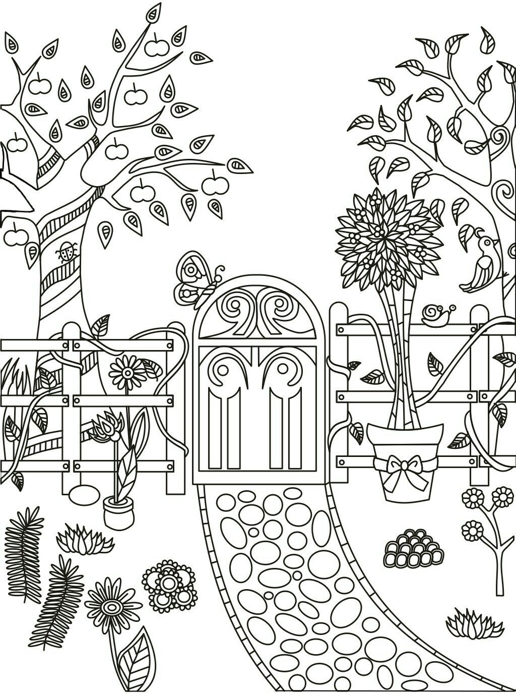 Garden path coloring page Colouring