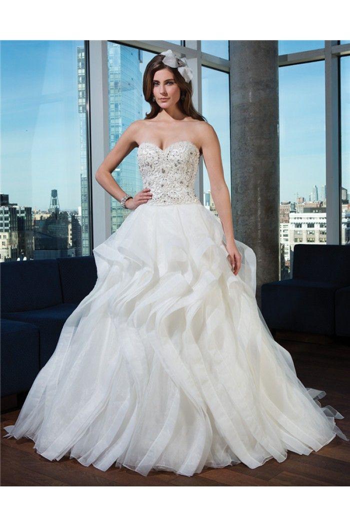 Ball Gown Strapless Sweetheart Drop Waist Organza Ruffle Crystals Beaded Wedding Dress