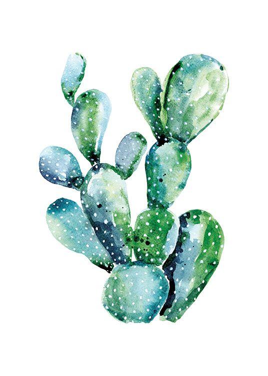 Watercolor Cactus Poster Cactus Schilderij Cactus Kunst Kunstdruk