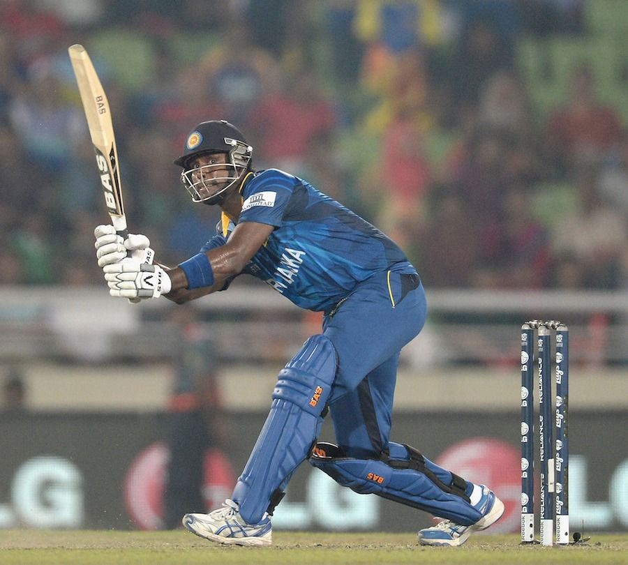 Angelo Mathews Scored 40 Off 23 Balls Sri Lanka V West Indies World T20 Semi Final Mirpur April 3 2014 Asia Cup Sri Lanka Cricket