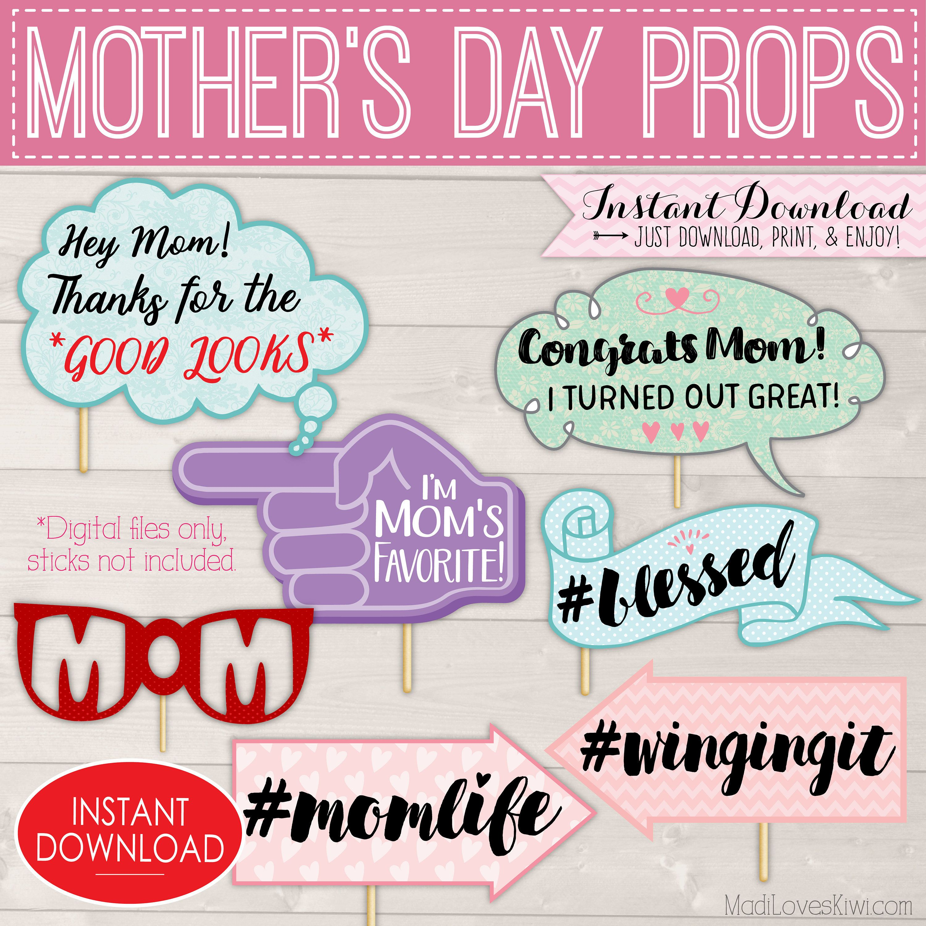 mother 39 s day photo booth props happy mothers day signs printable photobooth ideas funny mom. Black Bedroom Furniture Sets. Home Design Ideas