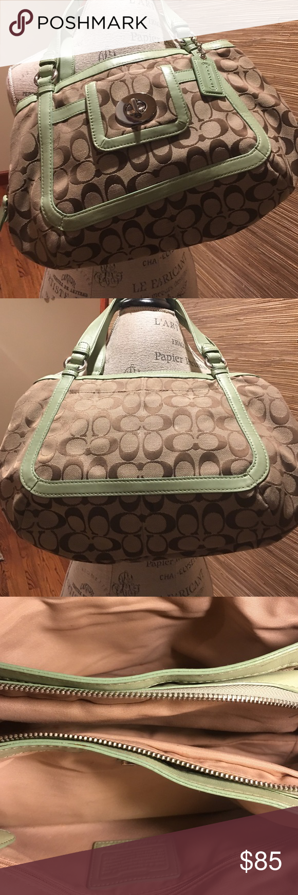 "Gorgeous Coach Purse❤️ This bag is a favorite from my Coach collection. I love the pale, soft green trim against the classic Coach CC fabric. Beautiful brass accent. Bag is in impeccable condition! Approx 15"" across x 9"" . Coach Bags Shoulder Bags"
