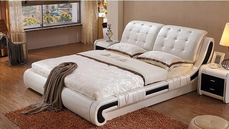 Bed Modern Leather Bed 2 Nightstands Mattress Bedroom Furniture Sets Leather Bed Painted Bedroom Furniture