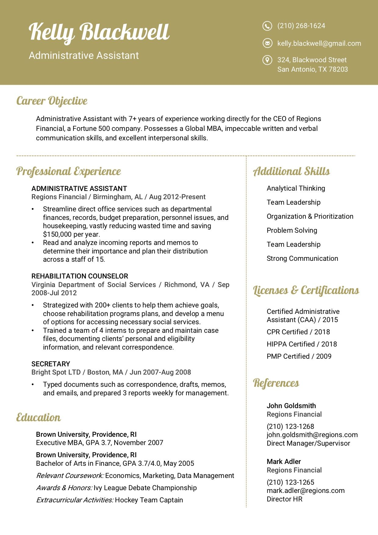 Resume Template 8A RC Verbal communication skills