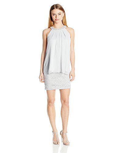 118abb00d47 Jessica Howard Womens Petite Beaded Neck Popover Dress