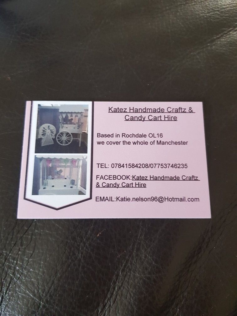 My business card katez handmade craftz candy cart hire candy cart hire my business card colourmoves Image collections