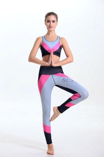 Famous Brand Women s Yoga Sets Fitness Bra+Pants Leggings Sportswear  Waistcoat Sexy Gym Workout Clothes Fourneedle six lines  137e9660e