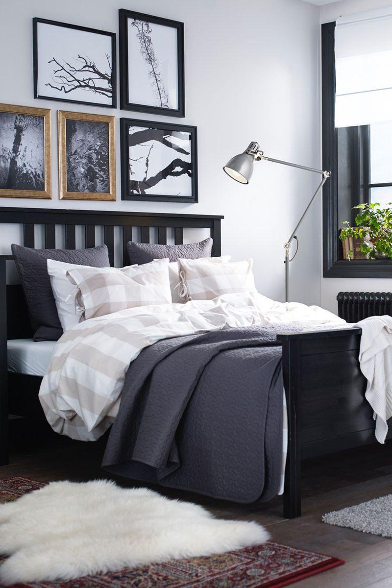 Hemnes Bettgestell Schwarzbraun Leirsund Ikea Deutschland Rustikales Schlafzimmer Wohnen Schlafzimmer Einrichten