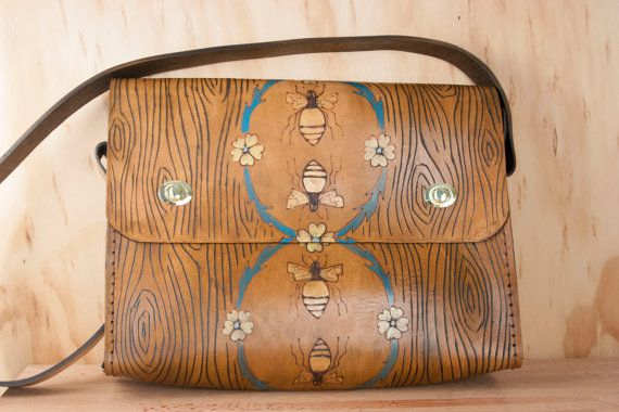Messenger Bag - Briefcase - Bag - Laptop Bag - Leather - Mens or Womens Bag - Melissa pattern with bees and flowers - Brown turquoise yellow