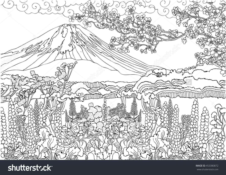 Uncategorized Landscape Coloring Pages For S mountain in japan fujiyama landscape coloring pages color pages