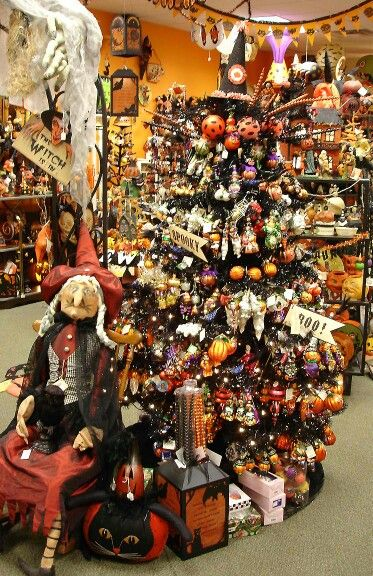 joe spencers winnie witch guards the black halloween ornament tree in our store - Black Halloween Tree