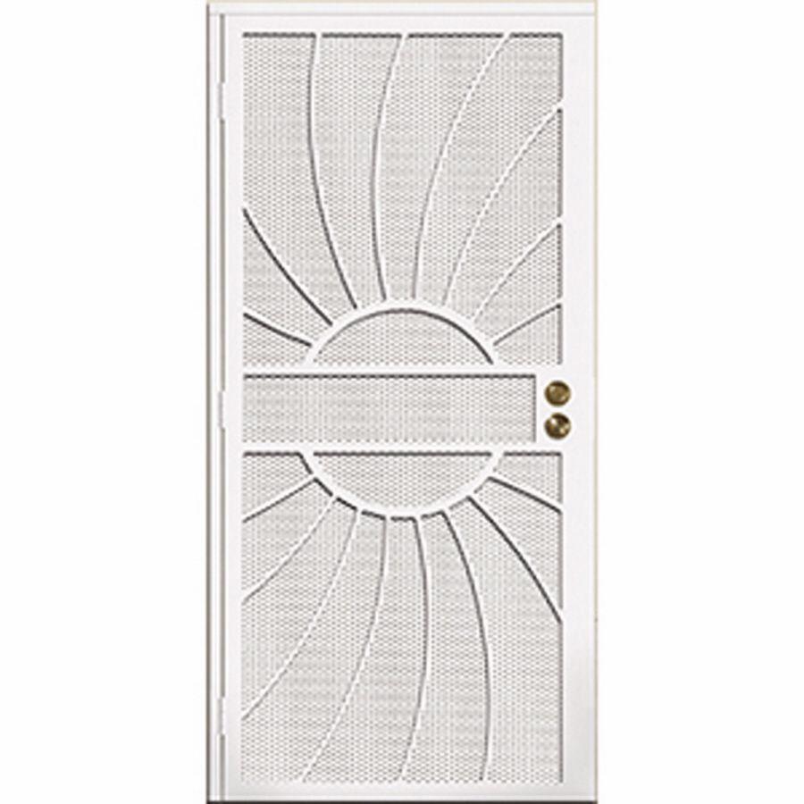 Gatehouse Sunburst White Steel Surface Mount Single Security Door