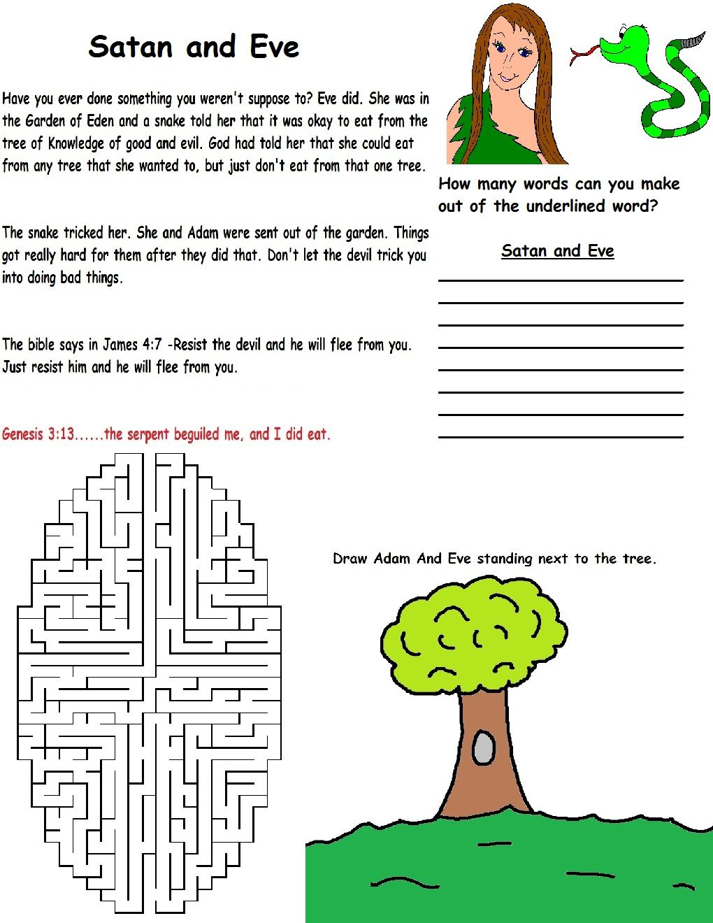 Adam and Eve printable wild card for kids to do during