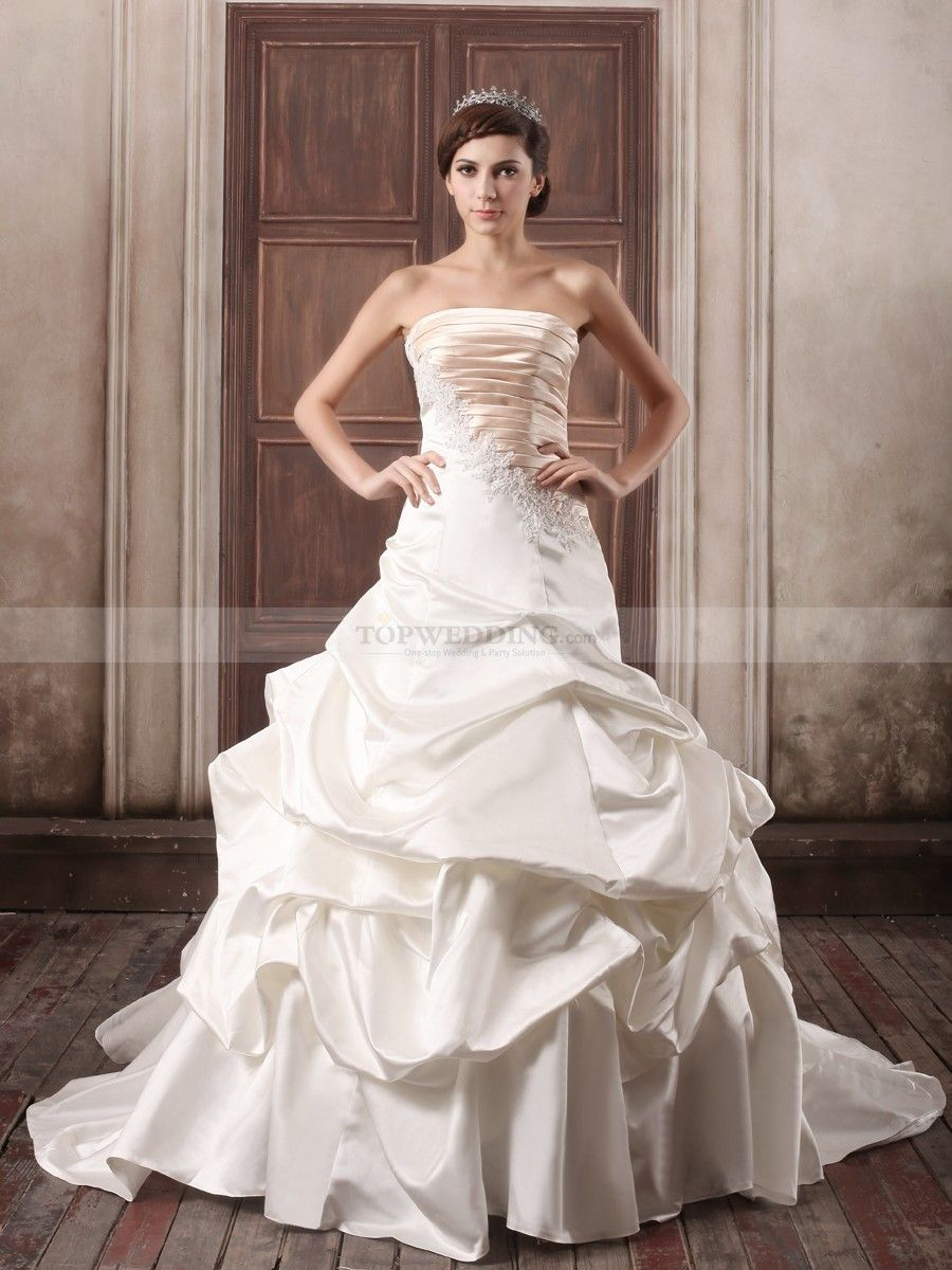 Two Tone Appliqued and Pleated Satin Ball Gown with Pick Ups