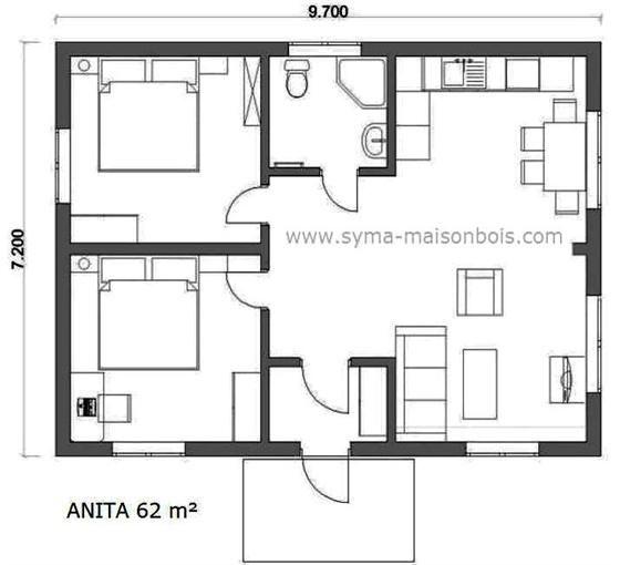 Plan pour une petite surface au sol, le plan Anita 62 de base a une - aide pour construire une maison