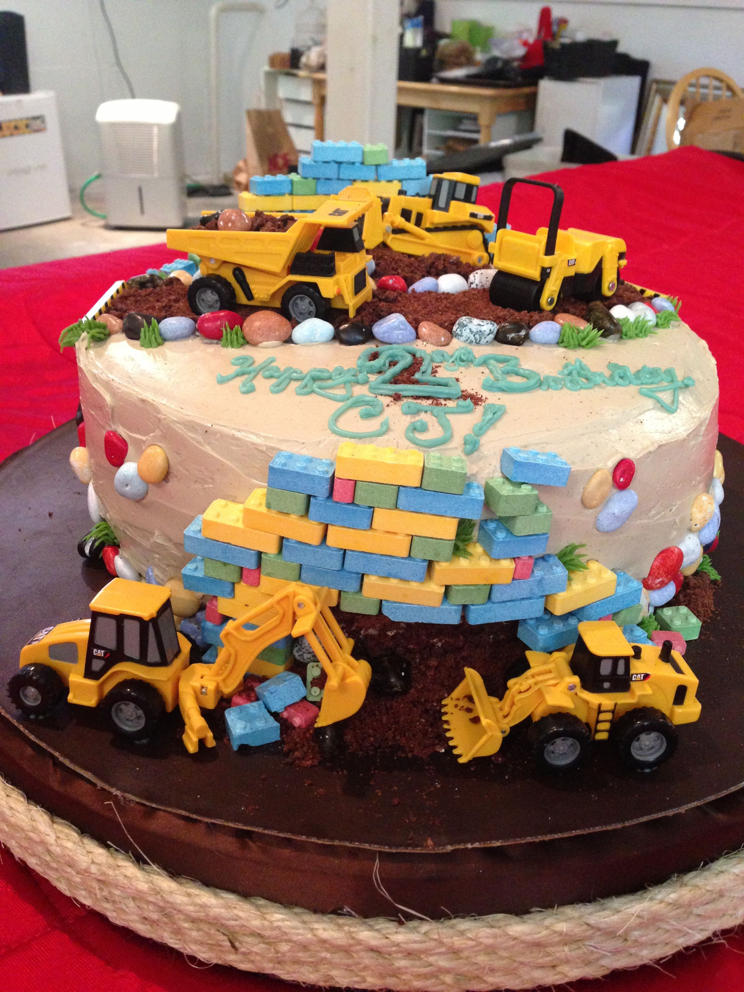 Construction Cake With Candy Rocks And Candy Bricks Parties