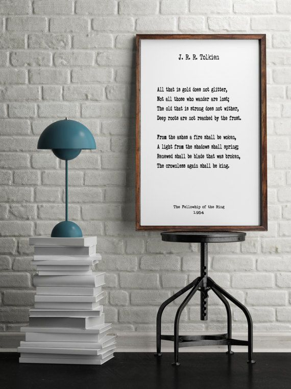 J R R Tolkien Book Quotes Wall Art Home Decor Inspiring