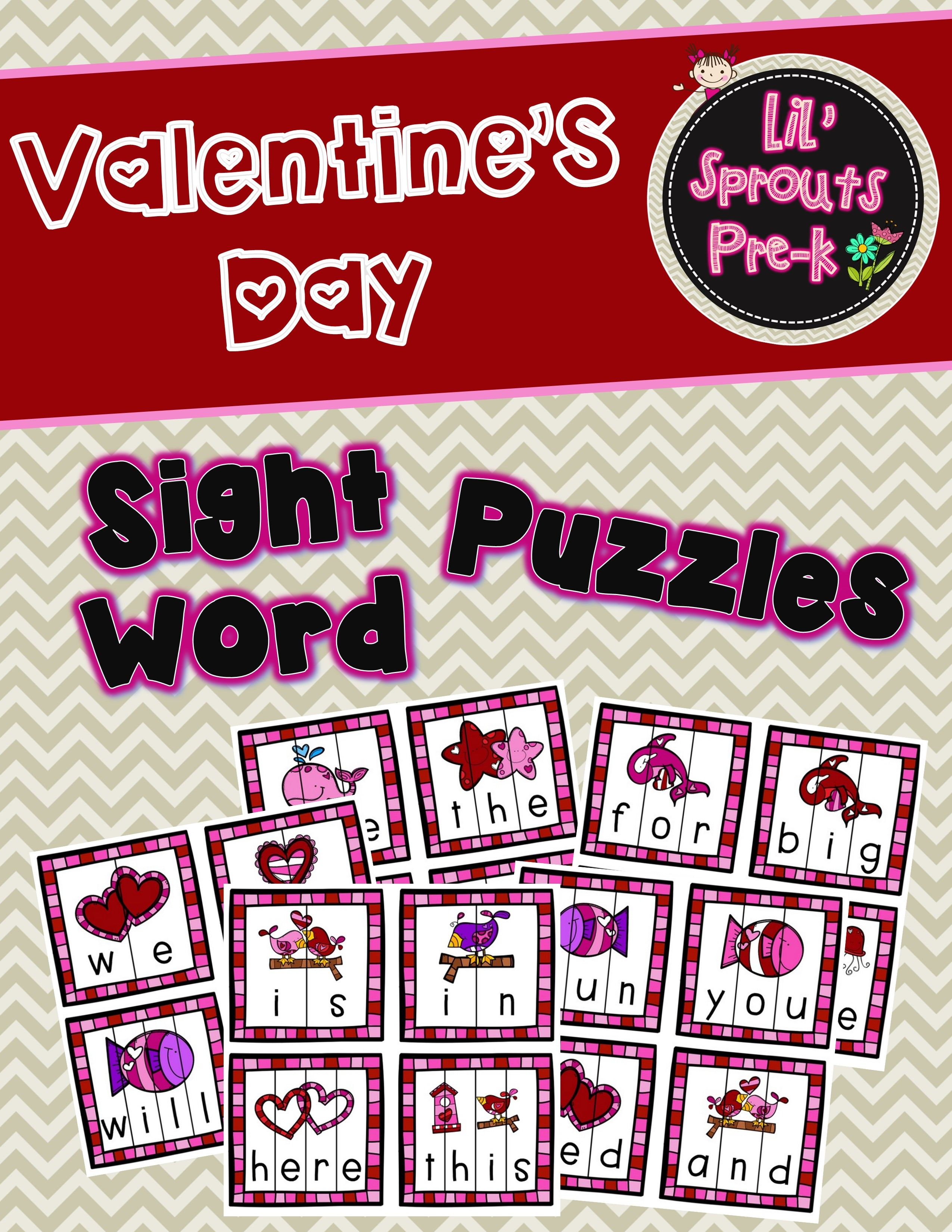 Valentine S Day Sight Word Puzzles