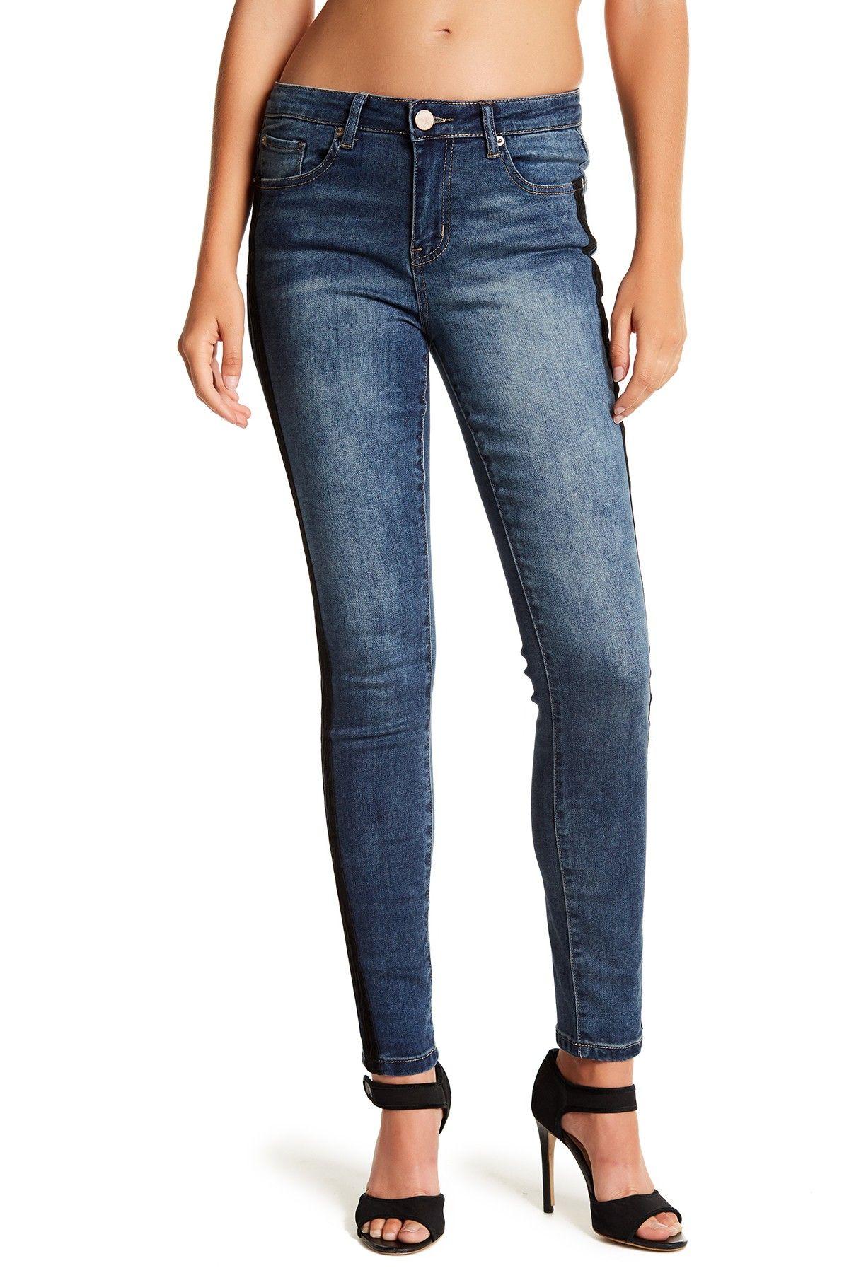 47e12060f34 Velvet Tuxedo Striped Skinny Jeans