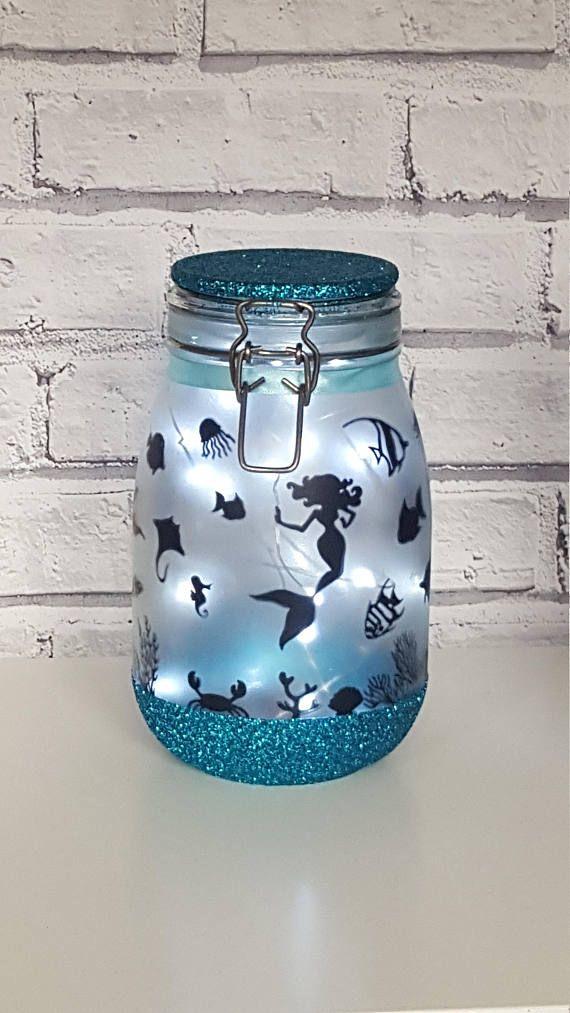Mermaid Night light,Mood Lighting,Little Mermaid,Jar With Fairy ...
