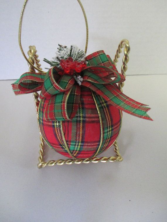 Quilted Christmas Plaid Fabric Ball ornament red fabric seperated