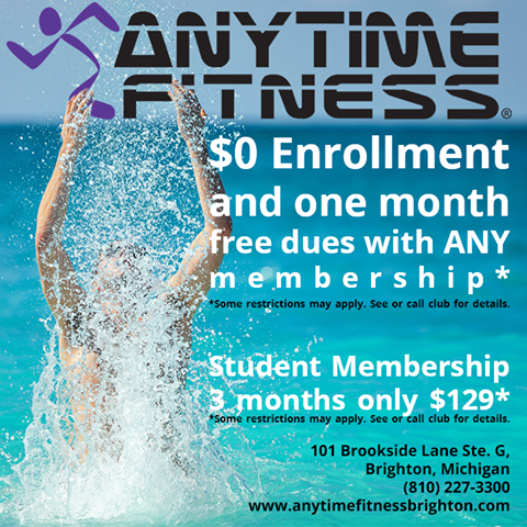 This Month At Anytime Fitness In Brighton You Can Get 0 Enrollment And One Month Free Dues With Any Membership Students Anytime Fitness Student Brighton