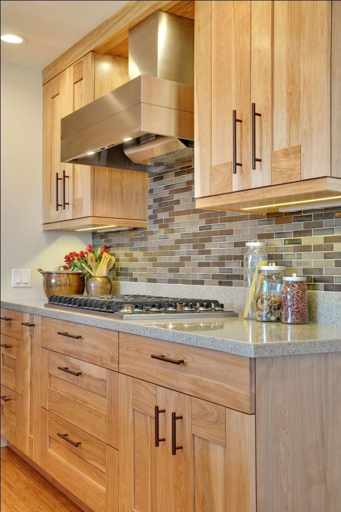 Birch Cabinets Gray Counters Backsplash Kitchen Design