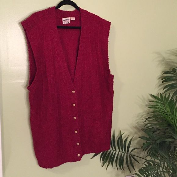 "Pretty Red Sweater Vest Size 22W - 42 Like new condition! Great fuzzy sweater to complement your favorite long sleeve top! This has plenty of stretch to it! Bust, waist and hips 27""(half) 54""(full), total length 31.5"". Separate Issue Woman Sweaters"