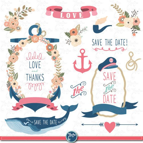 Wedding Clipart Pack WEDDING FLORA NAUTICAL Clip By YenzArtHaut
