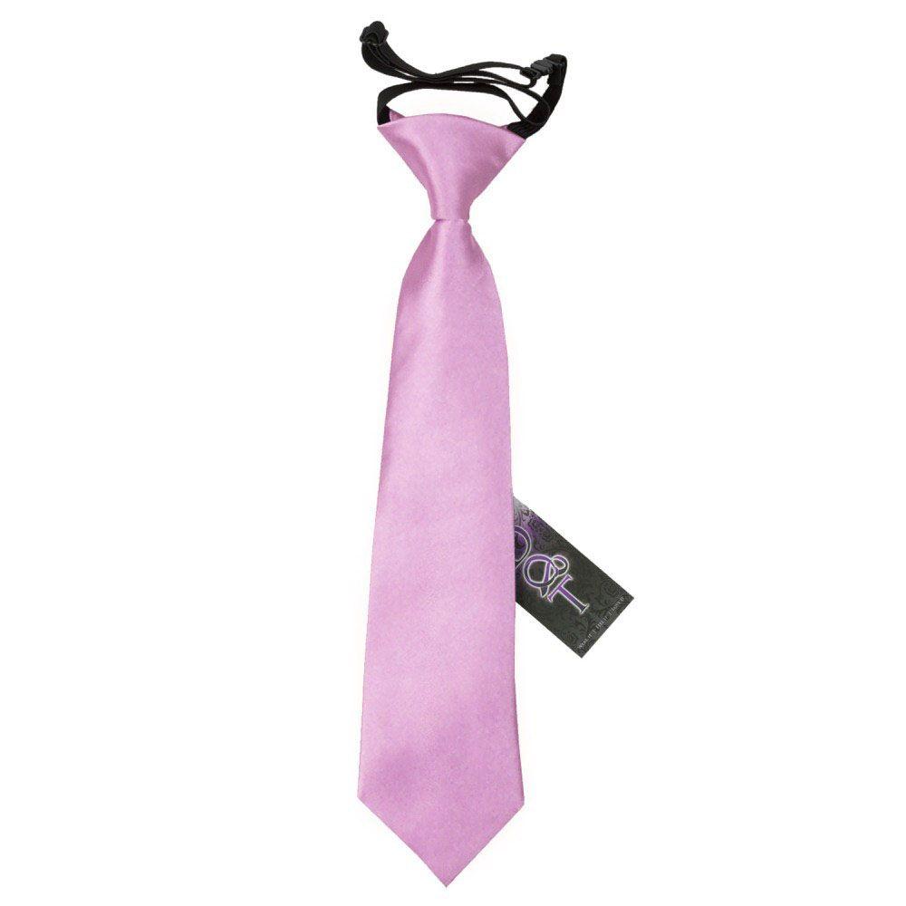 DQT Satin Plain Solid Hot Pink Wedding Pre-Tied Boys Cravat