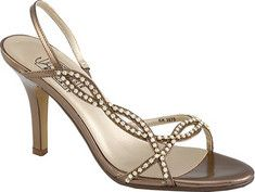 Suzette is a metallic slingback with rhinestones and a 3.5  high heel. This shoe is great for evening wear.