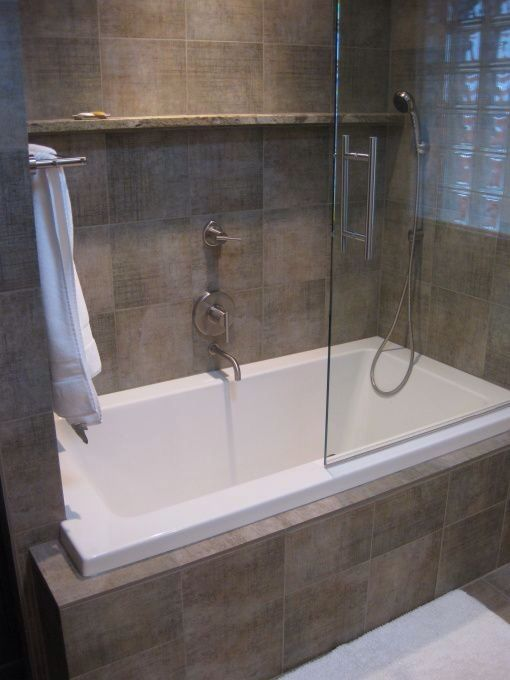 Built In Bath With Shower Small Bathroom With Shower