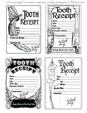 Tooth Fairy Receipts Four Designs Free Just Click Print And Fill Out Tooth Fairy Receipt Tooth Fairy Tooth Fairy Pillow