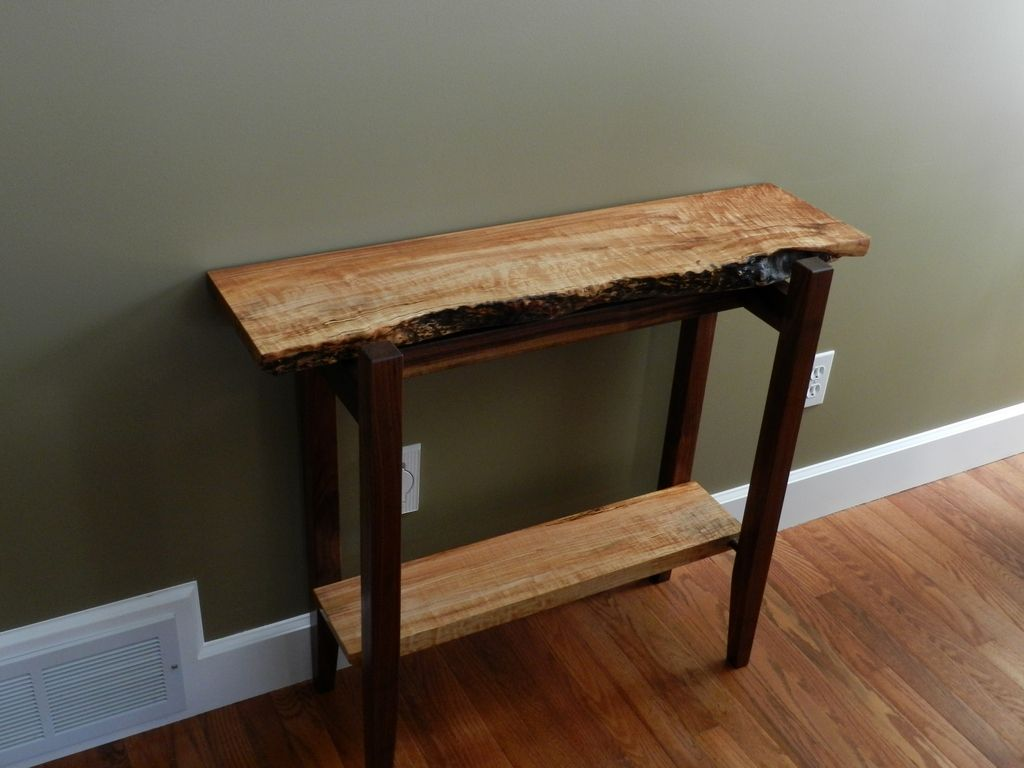 Figured Maple And Walnut Live Edge Hall Entry Table Wood Pieces Wood Slab