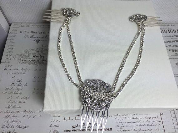 Silver crystal Bridal headpiece, Hair chain for a 1920s wedding Deloras Hair Chain #hairchains