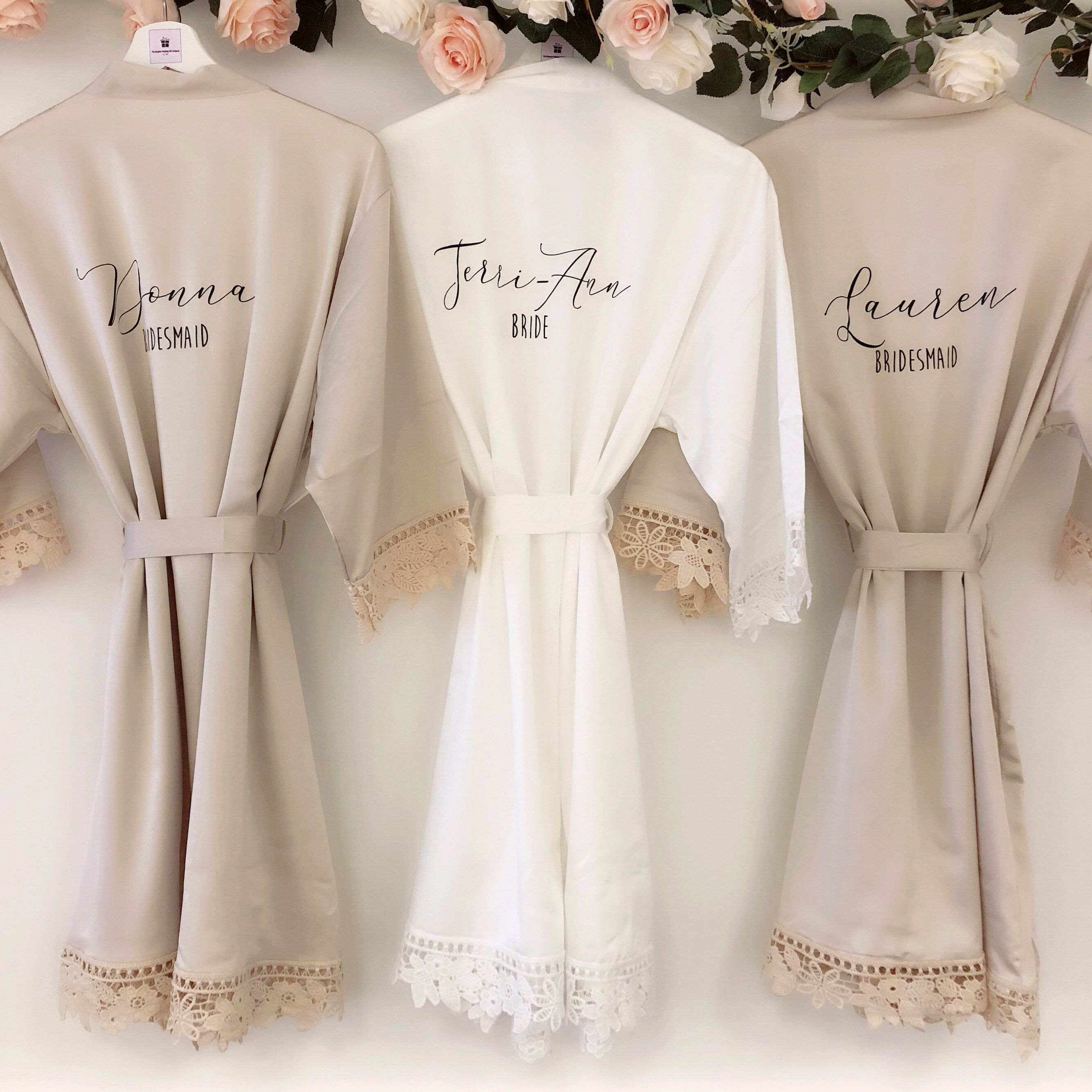 CATHERINE satin and lace bridal robes in standard and plus sizes and child sizes, wedding robe with lace for bridesmaids