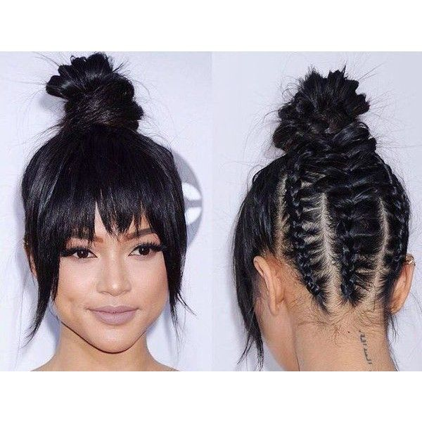 Karrueche Tran Braided Top Knot Ama S Liked On Polyvore Featuring